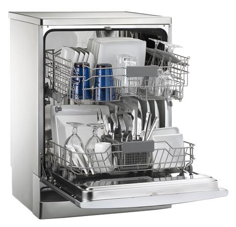 Dishwasher full of clean crockery with door open